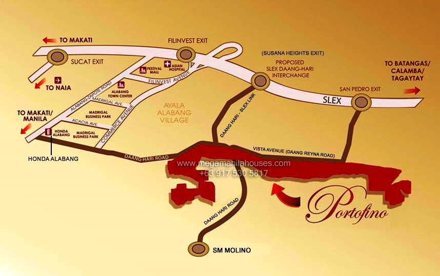 Vicinity Map: How to Get To Amore At Portofino – Luxury Homes For Sale Along Daang Hari Road