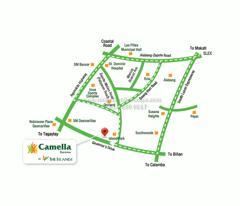Vicinity Map: How to Get To Camella Dasma At The Islands – House And Lot For Sale Dasmarinas Cavite