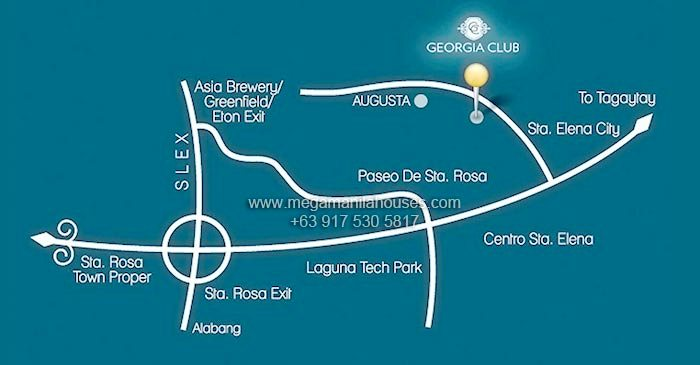 Vicinity Map: How to Get To Georgia Club – Luxury Homes For Sale In Sta. Rosa Laguna