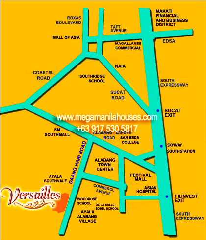 Vicinity Map: How to Get To Versailles – Luxury Homes For Sale In Las Piñas