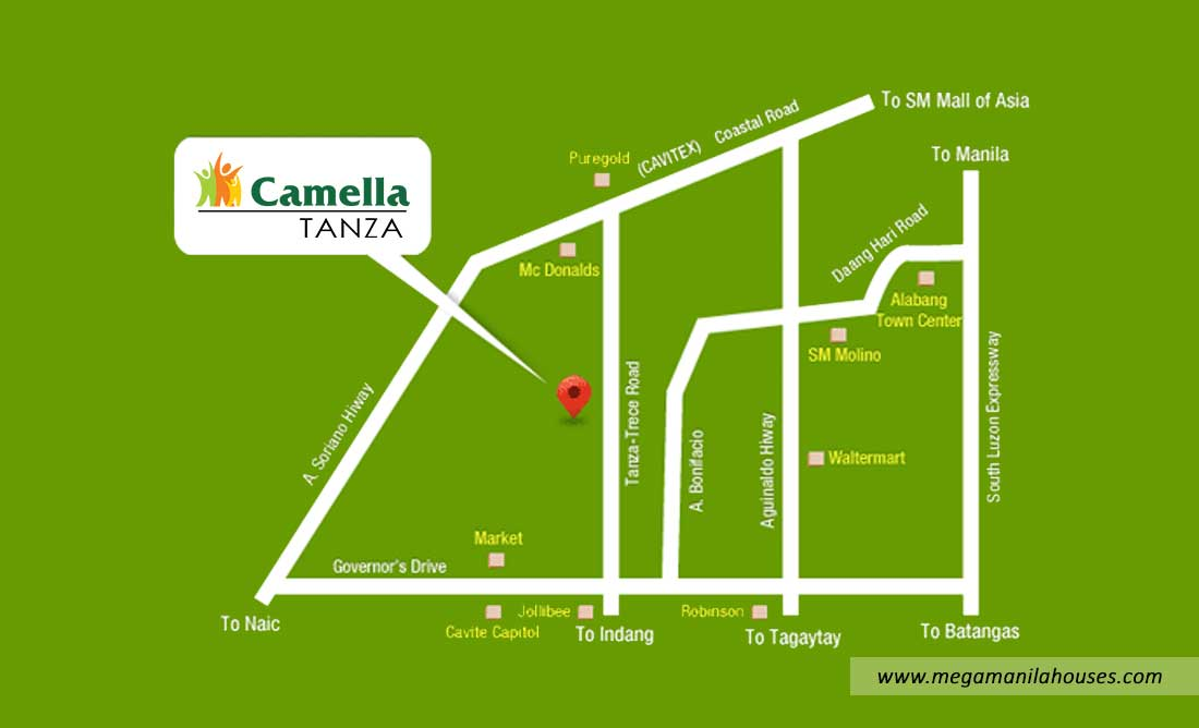 Vicinity Map: How to Get To Camella Tanza Heights – House and Lot for Sale in Tanza Cavite