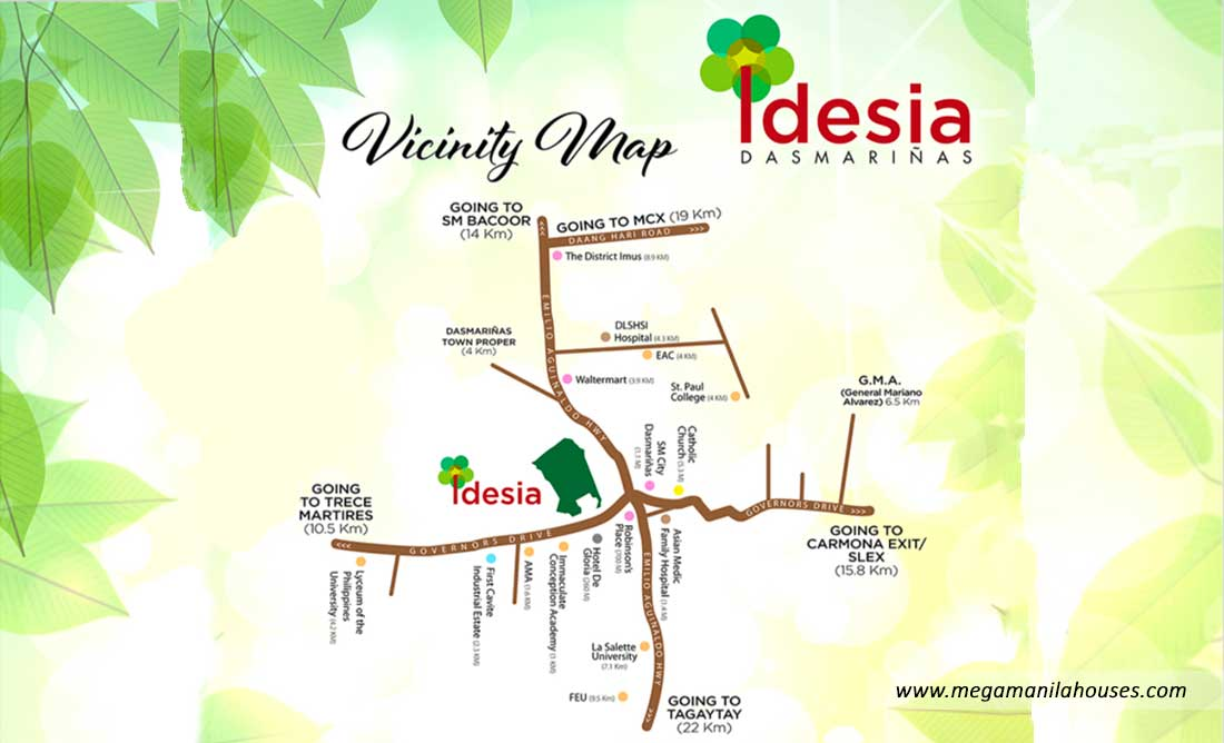 Vicinity Map: How to Get To Idesia – House and Lot for Sale in Idesia Dasmarinas Cavite