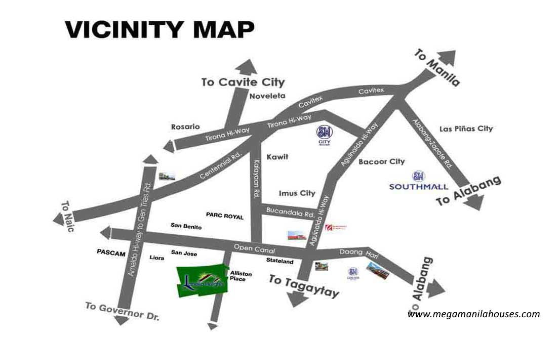 Vicinity Map: How to Get To Lanello Heights – House and Lot for Sale in Lanello Heights General Trias Cavite