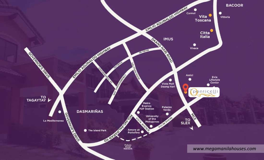 Vicinity Map: How to Get To Ponticelli – Luxury Homes For Sale In Bacoor Cavite