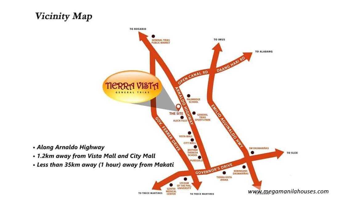 Vicinity Map: How to Get To Tierra Vista General Trias