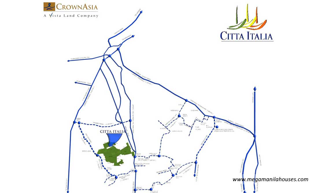 Vicinity Map: How to Get To Citta Italia – Luxury Homes For Sale in Bacoor Cavite