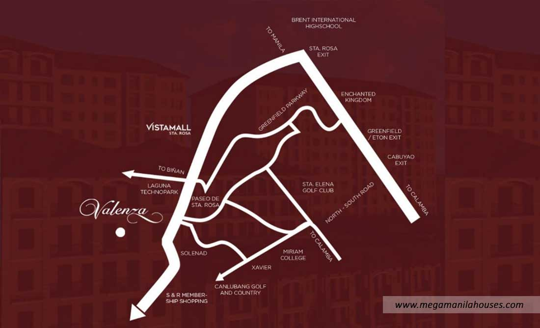 Vicinity Map: How to Get To Valenza – Luxury Homes For Sale in Santa Rosa Laguna