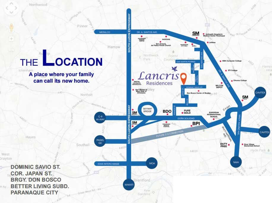 Vicinity Map: How to Get To Lancris Residences