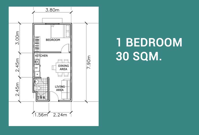 The Meridian COHO - Condo Homes for Sale in Bacoor Cavite 1 Bedroom Unit Layout
