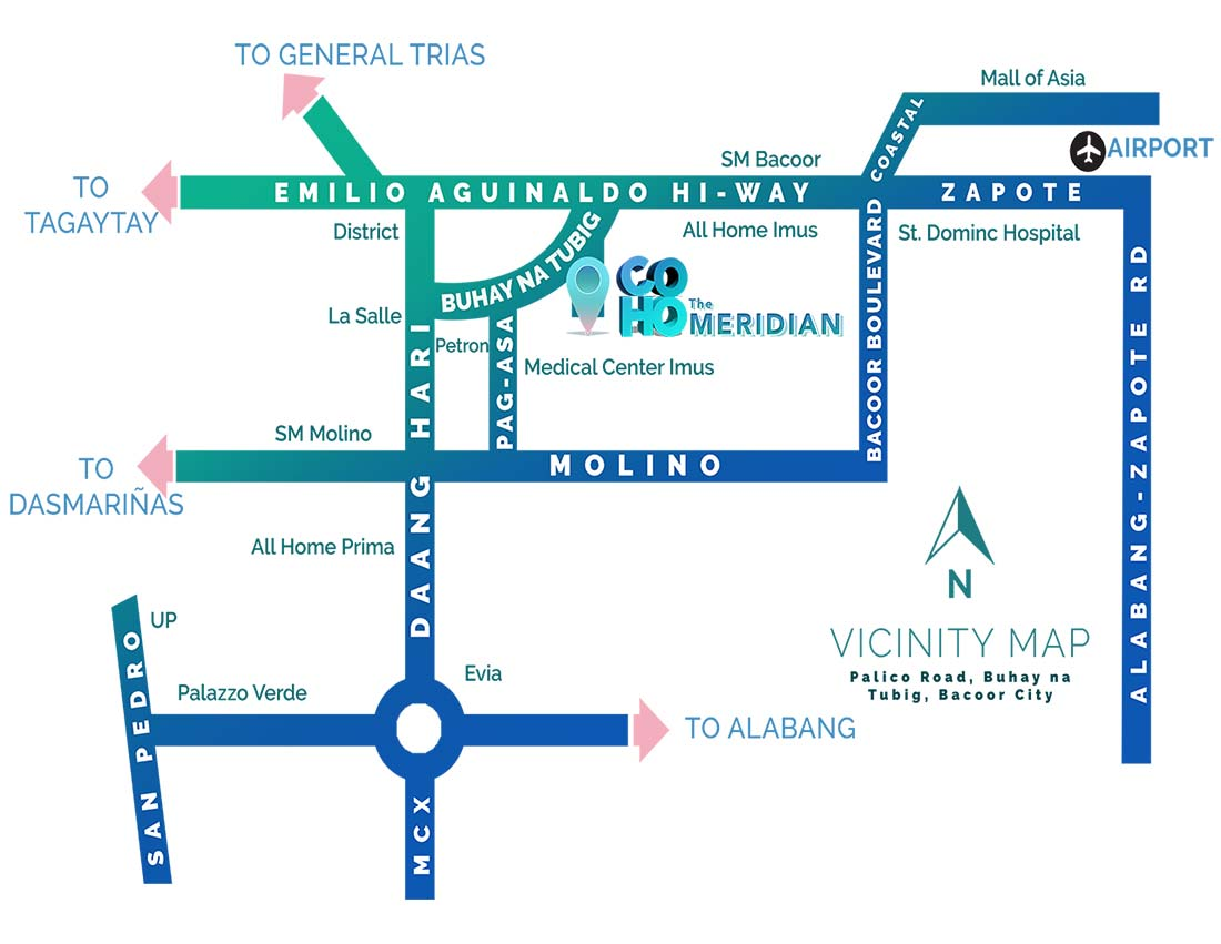 Vicinity Map: How to Get To The Meridian COHO
