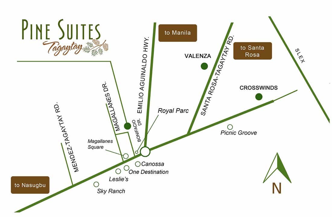 Vicinity Map: How to Get To The Pine Suites COHO