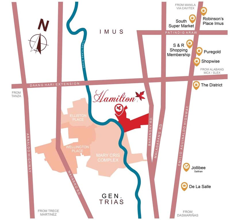 Vicinity Map: How to Get To Hamilton Executive Residences – House And Lot For Sale Imus Cavite