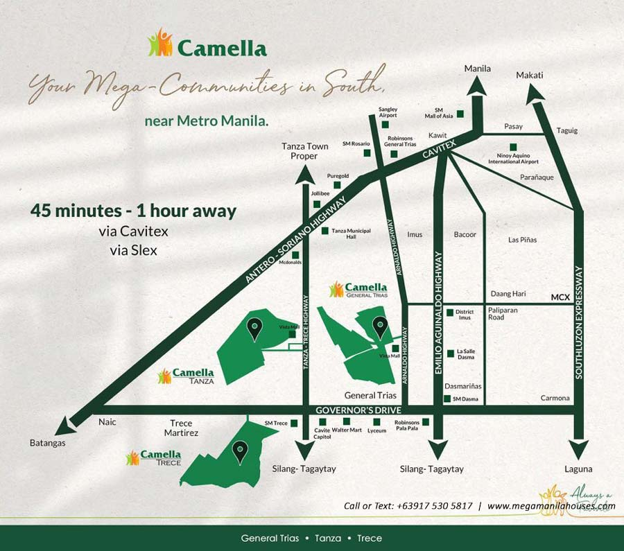 Vicinity Map: How to Get To Camella General Trias – House and Lot for Sale in General Trias Cavite