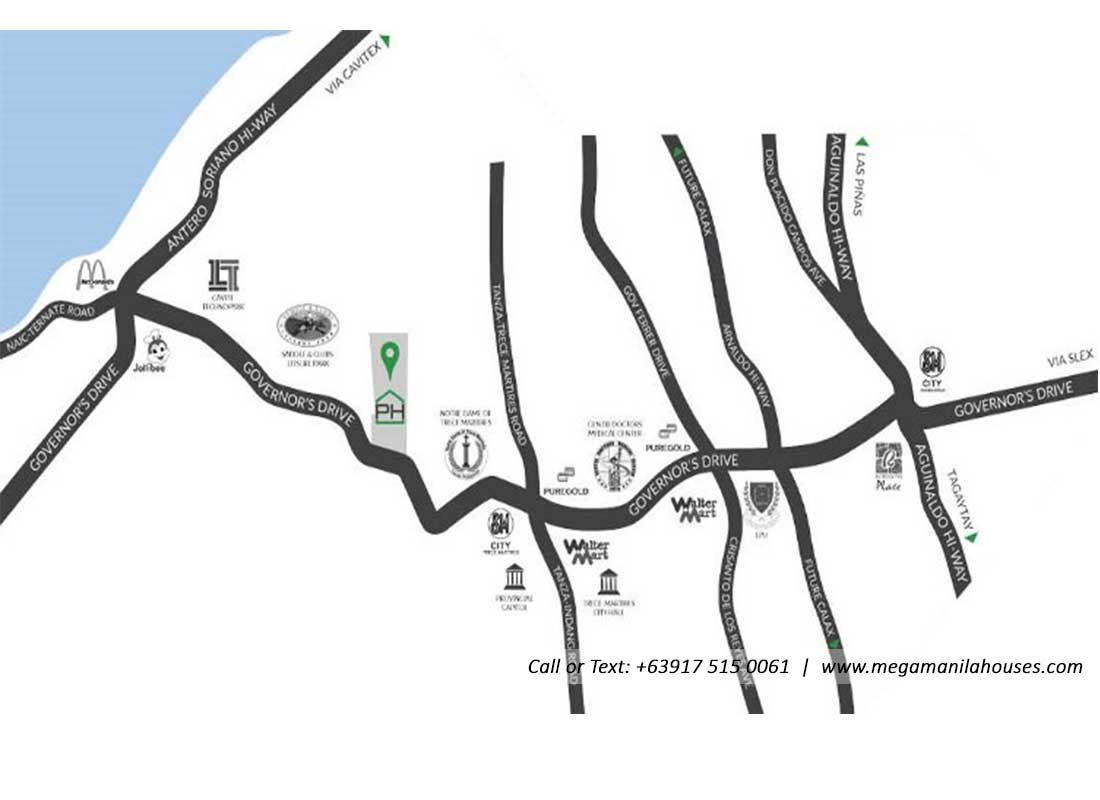 Vicinity Map: How to Get To Phirst Park Homes Tanza – House and Lot for Sale in Tanza, Cavite